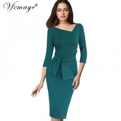 VfEmage Womens Asymmetric Neck Elegant Belted Tunic Wear to Work Office Business Bodycon Stretch Fitted Sheath Pencil Dress 4430