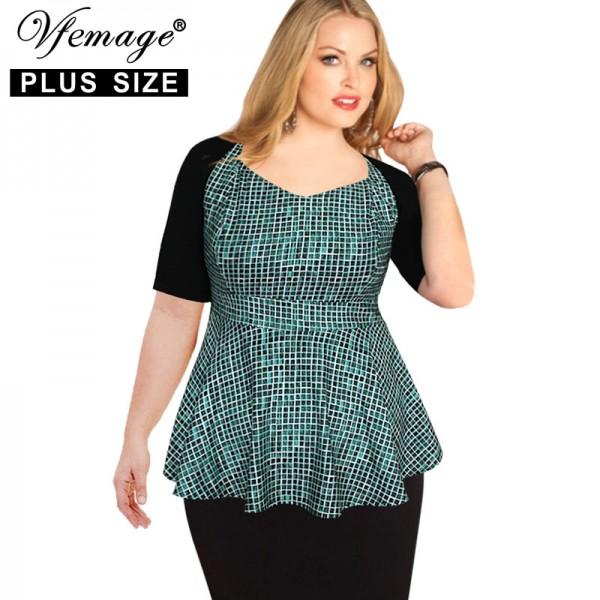 Vfemage (Plus Size) Womens Elegant Peplum Tartan Check Casual Work Office Slim Sheath 5XL 6XL 7XL Top Blouse 2829