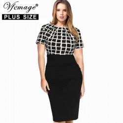 Vfemage (Plus Size) Womens Elegant Tartan Check Ruched High Waist Casual Work Office Party Sheath Bodycon Pencil Dress 2799
