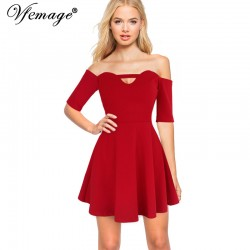 Vfemage Sexy Off Shoulder Keyhole Girl Ladies Chic Party Club Beach A-Line Skater Fitted Short Mini Dress 4912
