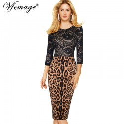 Vfemage Women Elegant Flower Lace High Waist Leopard Transparent 3/4 Sleeve Casual Party Pencil Sheath Tunic Bodycon Dress 4327