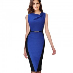 Vfemage Women's Elegant Draped Neck Optical Illusion Sleeveless Belted Wear to Work Office Business Stretch Bodycon Dress 348
