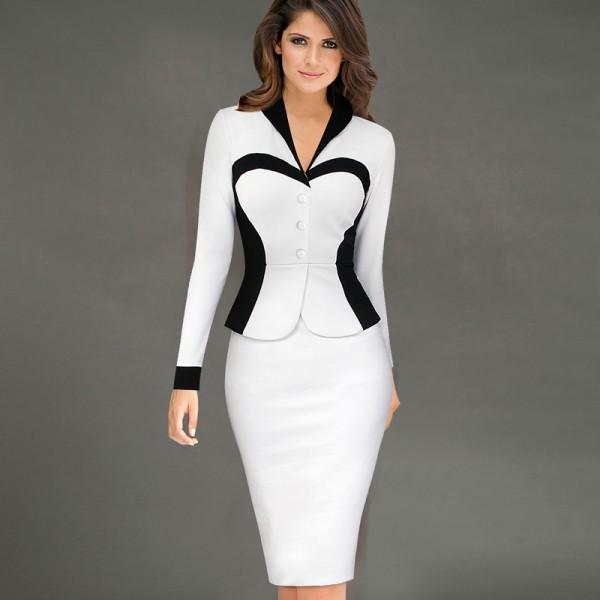 Vfemage Women's Elegant Lapel Colorblock Optical Illusion Patchwork Faux Twinset Wear to Work Office Sheath Bodycon Dress 1506