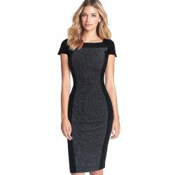 Vfemage Women's Elegant Optical Illusion Contrast Square Neck Cap Sleeve Wear to Work Office Fitted Stretch Bodycon Dress 1659