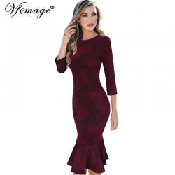 Vfemage Womens Autumn Elegant Vintage Mermaid Casual Party Wear To Work Bodycon Business Office Mid-Calf Midi Fitted Dress 4160
