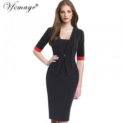 Vfemage Womens Elegant Faux Jacket Contrast Patchwork Slim Vintage Work Office Business Party Bodycon Pencil Sheath Dress 6342