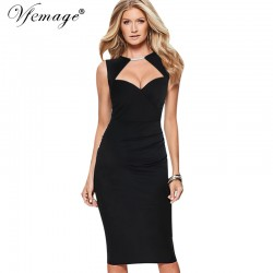 07d1a15acf0 Vfemage Womens Elegant Sexy Cutout Keyhole Ruched Tunic Casual Party Club  Pinup Bodycon Vintage Fitted Slim
