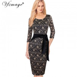 Vfemage Womens Elegant Vintage Lace Flower Print Belted Tunic Casual Party Pencil Sheath Dress 4255