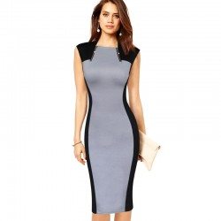 Vfemage Womens Elegant Vintage Optical Illusion Zipper Contrast Pinup Wear To Work Office Casual Party Bodycon Sheath Dress 2338