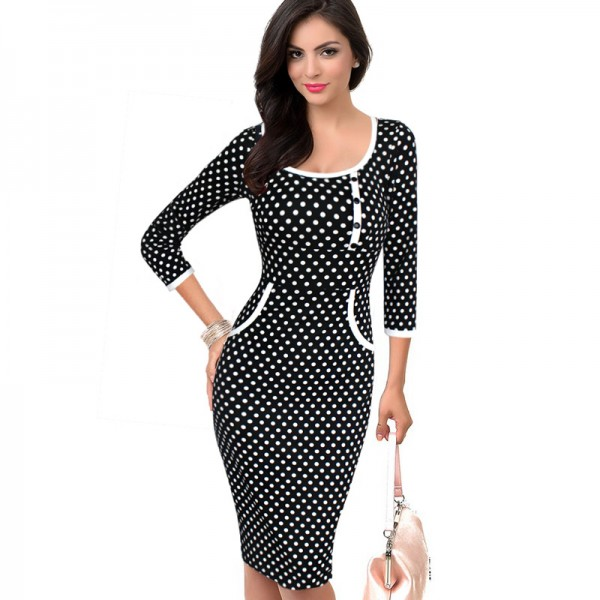 Vfemage Womens Elegant Vintage Rockabilly Polka Dot Button Tunic Wear to Work Office Business Casual Pencil Sheath Dress 2205