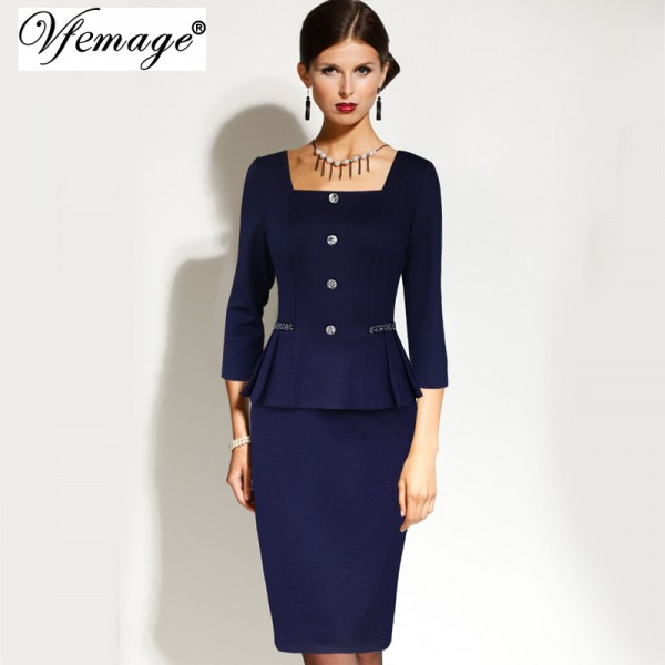 Vfemage Womens Elegant Vintage Square Neck Peplum Tunic Wear To Work Office Business Casual Pencil Sheath Fitted Dress 4060