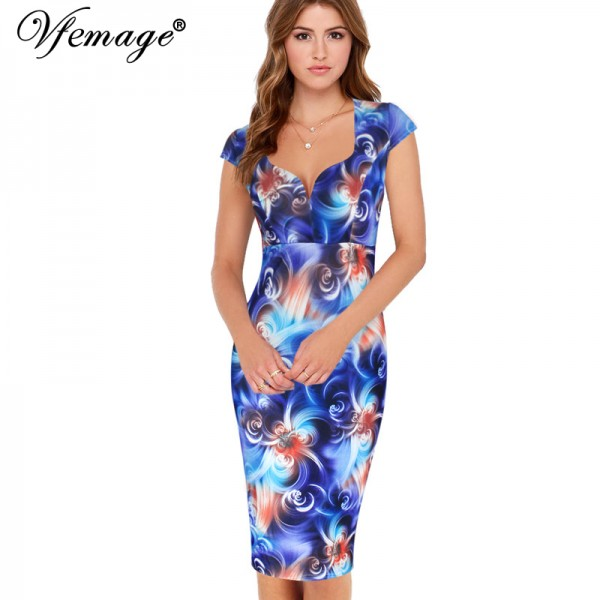 Vfemage Womens Sexy Elegant Cap Sleeve Slim Casual Business Party Wear To Work Office Bodycon Fitted Sheath Pencil Dress 2995