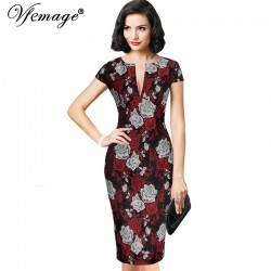 Vfemage Womens Sexy Elegant Jacquard Floral Flower Party Evening Mother of Bride Casual Sheath Bodycon Dress 3600