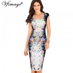 Vfemage Womens Summer Elegant Floral Butterfly Print Charming Pinup Cap Sleeve Casual Party Bodycon Sheath Dress 2959