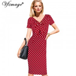 Vfemage Womens Vintage Pinup Rockabilly Bow V Neck Polka Dot Career Casual Work Party Sheath Wiggle Pencil Dress 2901