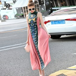 Vintage Chinese Style Slim Long Dress 2016 Summer New Fashion Embroidery Ankle-Length Dress For Women
