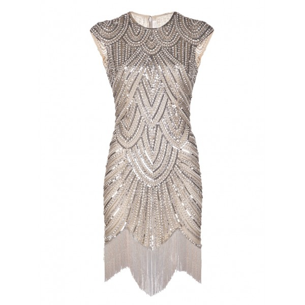 Vintage Inspired 1920s Gastby Handmade Diamond Sequined Embellished Fringed Flapper Party Dress
