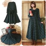 Vintage Mori Girl Preppy British Plaid Long Maxi Dress Princess Dress Sweet Peter Pan Collar Women Gothic Dress Boho Vestido