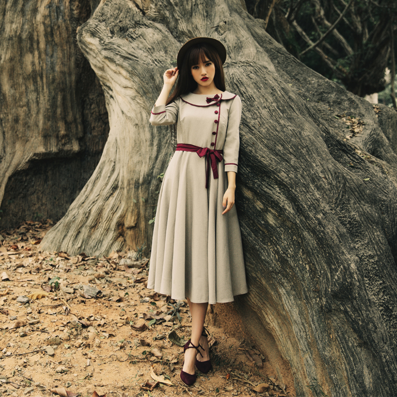 Vintage Retro Preppy Style Dress For Women Three Quarter Sleeve Empire  Elegant Dresses Vestidos Casual Lady Fladas Spring Autumn