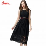 Vintage Robe New 2016 Summer Fashion Hollow Black / White Lace Elegant Party Dress High Quality Women Sleeveless Casual Dresses