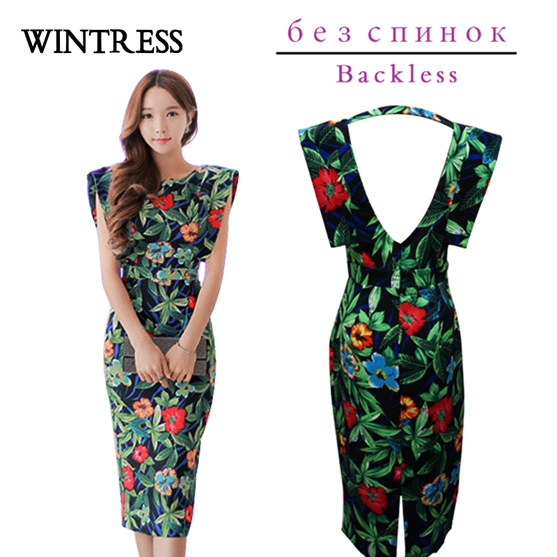 Wintress Women Summer Cotton Bodycon Dress Split Backless Sexy
