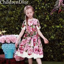 W.L.MONSOON Princess Girl Lace Dress 2017 Designer Girls Dresses with Pink Rose Floral Printed Kids Dresses for Girls Clothes