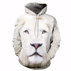 White Lion Print Fashion Brand Hoodies Men/Women 3d Sweatshirt Hooded Hoodies With Cap And Pockets Hoody lovely Tracksuits