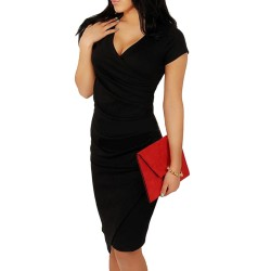 Wholesale Hot Sale New Fashion V-neck Short Sleeve Irregual Tail Pencil Party Evening Sexy Bodycon Women Dresses S M L XL XXL