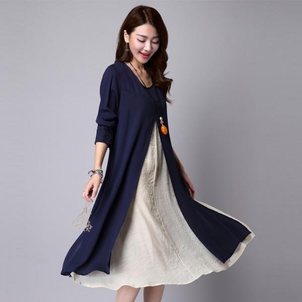 Winter Dress Long Sleeve Plus Size L2xl Linen Cotton Vintage Dress