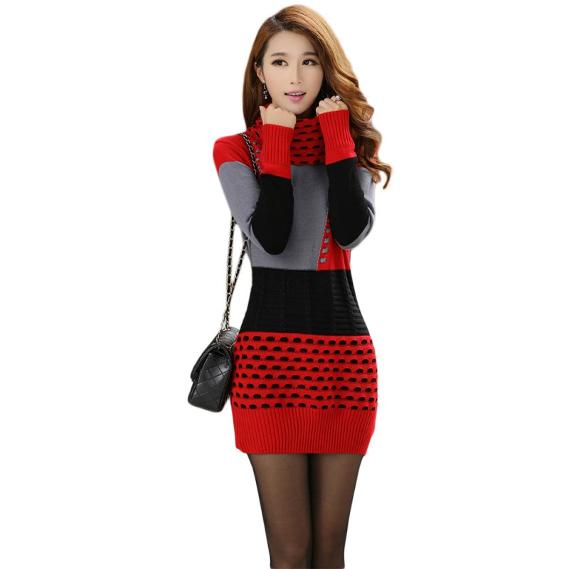 Woman Winter Dress 2018 Knitted Dress Turtleneck Long Sleeve Women