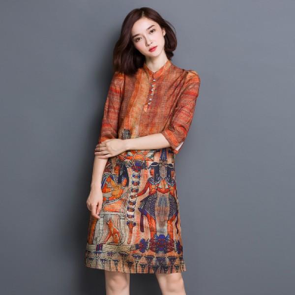 Women Autumn Dress Half Sleeve Stand Collar Plus Size Women Clothing