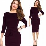 Women Autumn Elegant Ruffled Sleeved Vestidos Business Office Party Work Formal New Fashion Midi Sheath Bodycon Pencil Dress 38