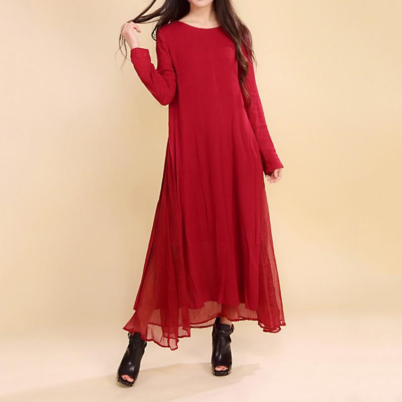 Women Dress Solid Color Red Color Plus Size 2XL Loose Cotton Linen Vintage  Dress Long Sleeve Two Piece O Neck Autumn Maxi Dress