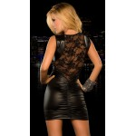 Women Faux Leather Bandage Tight-fitting Floral Lace Mesh Dress Sexy Slim Nightclubs Party Dress Sexy Clubwear Erotic Costume