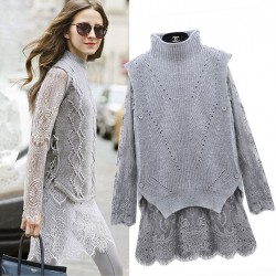 Women Grey 2 Piece Set Sweater and Lace Dress Female Vintage Rabbit/Angora Hair Knit Pullover Long Sleeves Lace Two-piece Dress