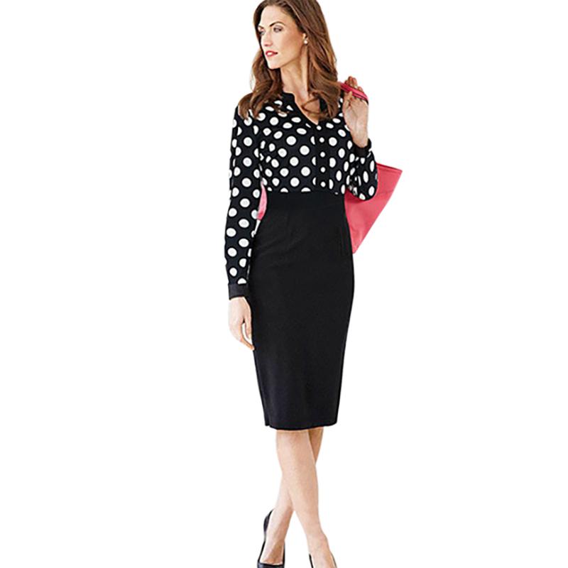 Women Office Dresses 2017 Autumn New Fashion Polka Dot V Neck Long