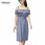 Women Sarafan Off The Shoulder Classic Plaid 50s Preppy Style Swing Summer Dress Cotton Linen 1950s Vintage Dresses