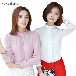 Women Shirts New 2017 Long Sleeve Office Blouse White Shirt For Women Female Plus Size Blouses And Shirts Camisa Mujer