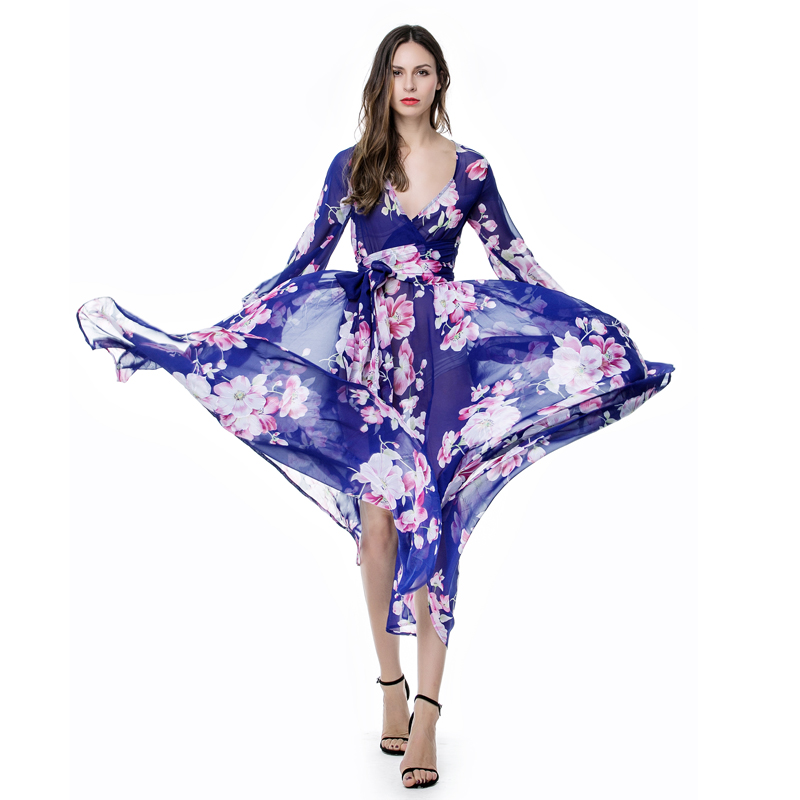 Women Summer Autumn Bohemian Floral Print Blue Chiffon Beach Dress Long  Robe Maxi Plus Size Dress ... a484f1893311