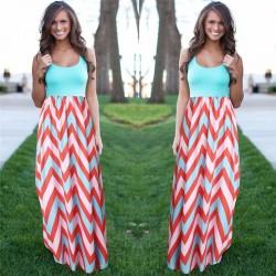 Women Summer Beach Boho Maxi Dress 2018 High Quality Brand Striped Print Long Dresses Feminine Plus Size