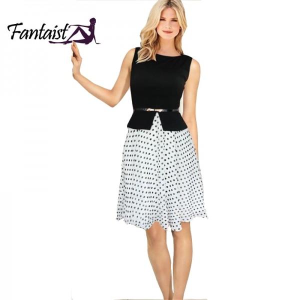 Women Summer Dress 2015 New Vintage Dots Ball Gown Elegant Formal ...