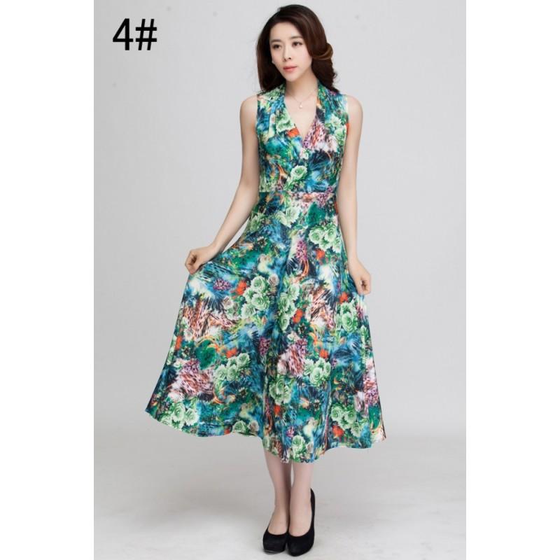 Summer Dress 2017 Printed Bohemian Beach Dress Plus Size V-neck ...