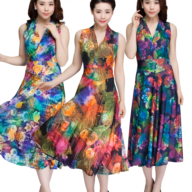 Women Summer Dress 2017 Printed Bohemian Beach Dress Plus Size V