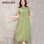 Women Summer Dress Green Yellow Black V Neck Cotton Linen Dress Casual Loose Short Sleeve Dress Size M-2XL