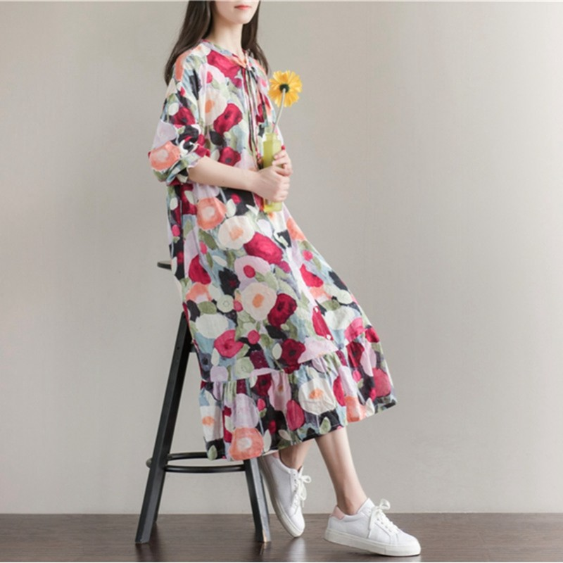 Women Summer Dress Long Sleeve Sundress With Bow Casual Plus Size A
