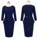 Women Wear To Work Office Dress Knee Length Decorate Ruffle Three Quarter Sleeve Sheath Party Plaid Bodycon Pencil Dresses B267
