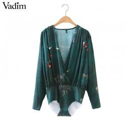 Women bamboo print cross shirt loose playsuit long sleeve elastic waist retro blouse fashion streetwear casual tops blusa LT1416