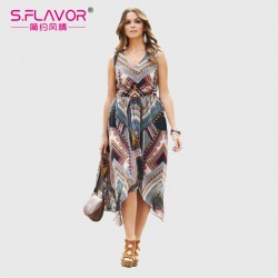 Women chiffon dress 2017 Spring Summer fashion women sleeveless waist printing dress Bohemian style V-neck beach vestidos