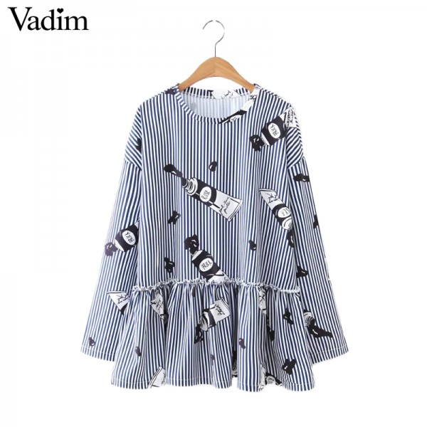 Women cute paint pattern striped loose blouse pleated ruffles blue white long sleeve shirts ladies casual tops blusas LT1391