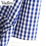 Women elegant beading floral embroidery plaid shirts checked o neck irregular blouse ladies streetwear tops blusas LT1725